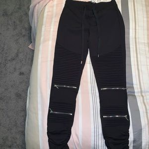 Women's Juniors Black Motorcycle Joggers Size M